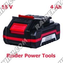 Батерия Li-ion, 18V, 4Ah, за акумулаторни машини Raider